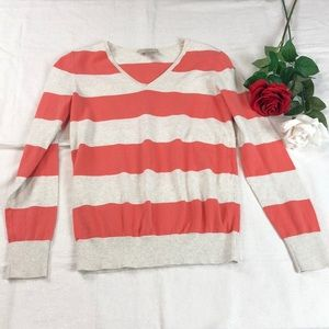 LOFT V-Neck Orange/Cream Striped Sweater S